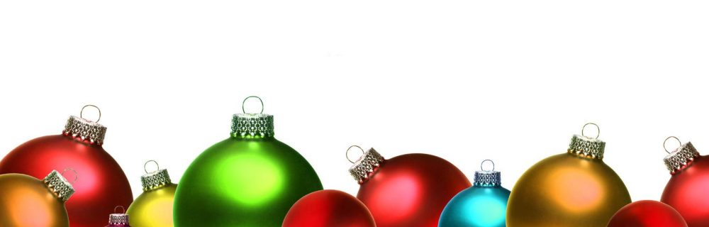 colorful christmas ornaments banner