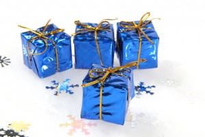 Small Blue Christmas gifts on white