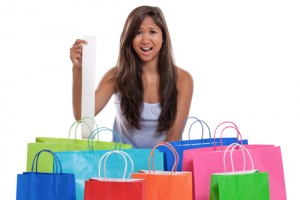 woman with shopping bags and receipt