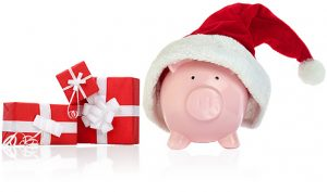 Chistmas Savings Piggybank with santa hat