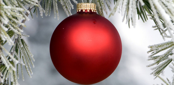 red ornament hanging on tree